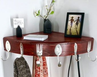 Beautiful 10 Hook Quarter Round Corner Shelf made from Recycled Silverware and Reclaimed Wood