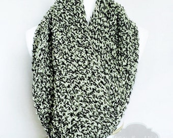 Black, Cream Crochet Scarf, Chunky Crochet Cowl, Crochet Infinity Scarf, Handmade Grey Crochet Cowl, Snood, Shoulder Wrap, Gray Neck Warmer