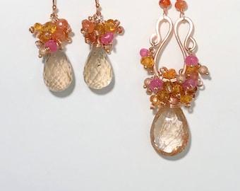 Rose Gold Sunstone Necklace Set Rutilated Quartz Jewelry Set Wire Wrap Mandarin Garnet Gem Cluster Mothers Day Gift for Mom Dangle Earrings