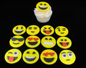 Emoji Cupcake Toppers, Fondant cupcake toppers, Teen Party, Kids Party, Birthday Party, Gag Gift - Qty 12