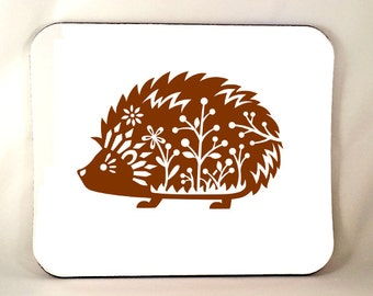 Whimsical Hedgehog Mouse Pad, Funny Mouse Pad, Cute Hedgehog Mouse Pad, Decorative Animal, Sublimated Mousepad, Thick 1/4 Inch