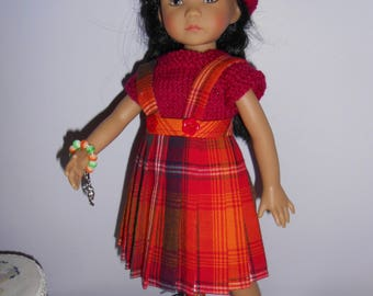 "Doll clothes Little darlings Dianna Effner, 33cm 14 "", pleated skirt fabric Madras sweater beret bracelet"