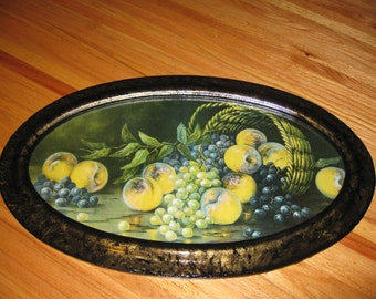 """STILL LIFE In Antique Oval Frame From The Early 1900's Frame Is 18 1/2"""" x 30 1/2"""" Outside"""