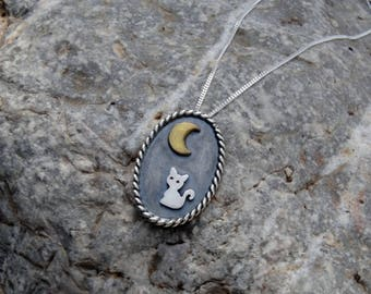 Cat necklace silver, Cat moon necklace, Cat necklace for women, Cat lover gift, Cat necklace sterling silver, Black cat necklace, Cat gift