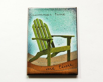 Summer time Magnet, Fridge magnet, ACEO, Kitchen magnet, Humor, Magnet, stocking stuffer, Beach Decor, Summer time, Green (5373b)