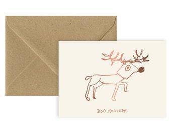A6 - Dog Rudolph - Xmas card