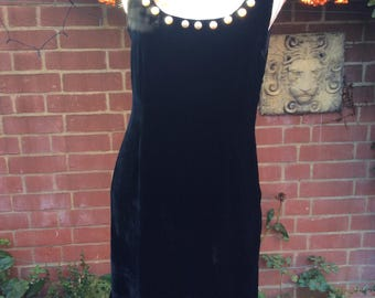 1980's Black Velvet and Pearl Trim Dress