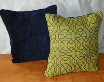 Pair of Green Blue Abstract Print Throw Pillows 10 x 10