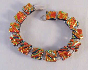 8 Inch OrangeDichroic Fused Glass Bracelet, Fused Glass, Dichroic, Glass Bracelet, Dichroic Bracelet, Dichroic, Fused Glass Bracelet, Orange