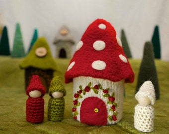 Felted Mushroom Gnome Cottage toadstool house ready to ship