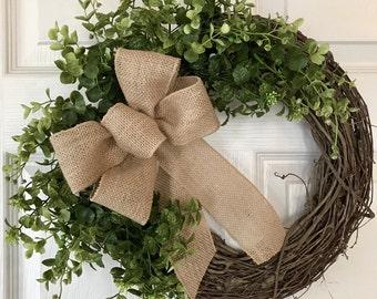 BOXWOOD WREATH,Summer Wreath,Rustic Wreath,Year Round Wreath, Spring Wreath, Grapevine Wreath,Fall/Winter Wreath,Front Door Wreath
