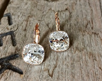 Bridal Earrings - Swarovski Earrings - Swarovski square cushion drop earrings - Rose Gold or Rhodium - Clear Swarovski Cushion Cut Crystal