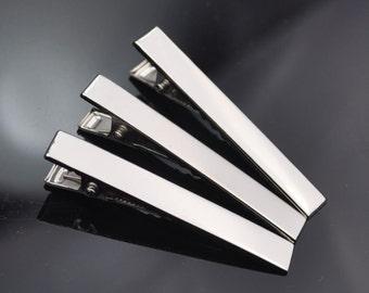 50PCS - Silver Prong Barrettes Hair Alligator Clips, Hair Accessory Blanks, Hair Clips, 56x8mm