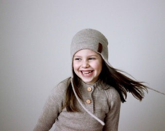 Alpaca wool ear flap hat, knit natural white, grey, beige, navy unisex winter bonnet, knitted kids helmet, baby, girls, boys, infant,toddler
