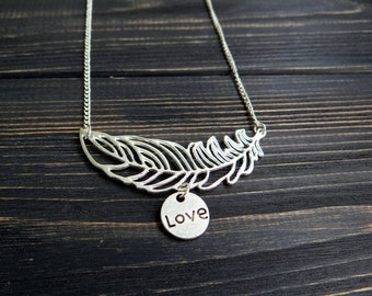 Inspirational necklace feather necklace love necklace long boho necklace inspirational jewelry birthday gifts/for/her personalized jewelry