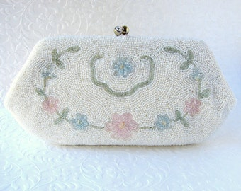 The SWEETEST Vintage Beaded Purse Sarne Italian Glass Clutch Rhinestone Clasp Wedding Handbag White Pink Blue Green Flower Hand Made Japan