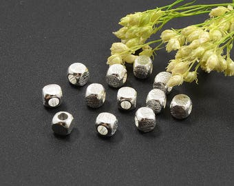 Brushed Cube Beads, 4mm, Round Cube Beads, Brass Bead, Tarnish Resistant Beads, Silver Beads, Lead Free, 2.5mm Hole