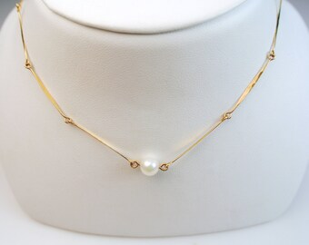 Delicate gold pearl necklace simple gold necklace pearl 14k gold pearl necklace simple gold necklace gold pearl pendant pearl bridal necklace aloadofball Images