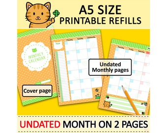 PRINTABLE A5 Size UNDATED Month On Two Pages Kitty Refills for Filofax A5 Kikki.K Large Planner Louis Vuitton GM Agenda Instant Download
