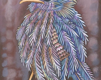 """Beautiful Bird 16 - an 8 x 10"""" ART PRINT of an opinionated and serious super duper fluffly bird of the softest mauve and storm cloud blues"""