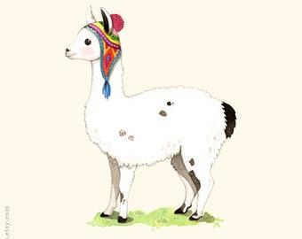 ABC animals, Llama print, Llama painting, Llama illustration, alphabet animals, Nursery wall art, animal alphabet print, L is for Llama