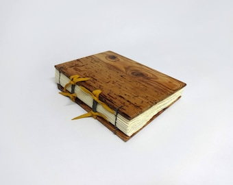 Old pine wood book handmade, wedding guest book, writing journal, rustic guest book, unique gift, 15 x 21 cm