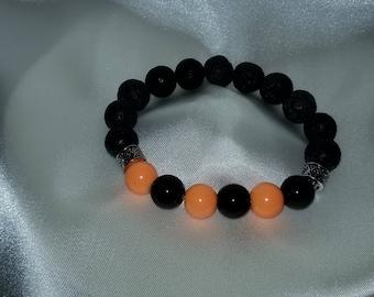 Orange and Black Glass Bead Essential Oil Diffuser Bracelet