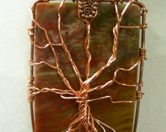 Sunset Agate Copper Tree of Life Pendant