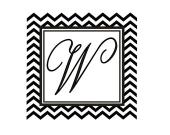 Monogram rubber stamp with chevron stripe great for creating personalized tags --5677