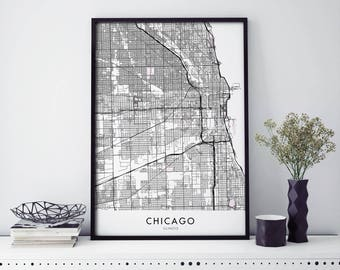 Chicago, Illinois Art, City Map Print Wall Art | A4 A3 A2
