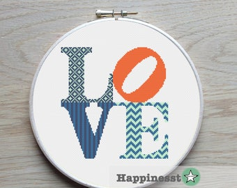 modern cross stitch pattern LOVE,  LOVE sign, PDF  ** instant download**