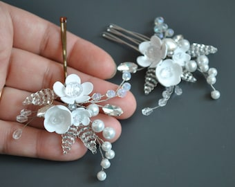 wedding hairpiece handmade flower pin bridal hair pin