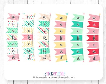 Horizontal Bunting weekend planner stickers yellow red pink