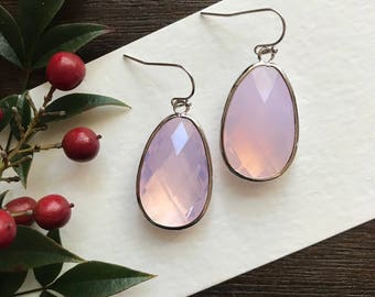 Opal drop earring, opal bridesmaid earring, pink bridesmaid earring, birthday gift for her, October birthstone,