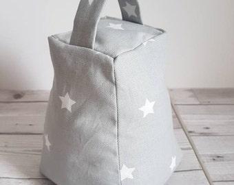 Star fabric doorstop, grey and white stars, door stop, prestigious twinkle