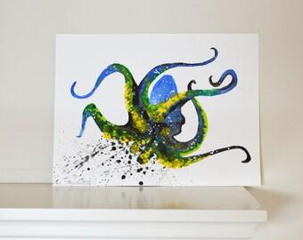 Octopus Spirit Animal ORIGINAL Watercolor 9X12