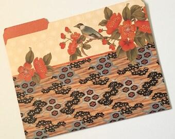 Asian Collage File Folder, Japanese Bird & Flower Collage Folder, Decorative File Folder, Cute File Folder, Desk Accessory Organizer PSS3544