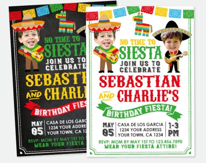 Fiesta Invitation With Photo, Sibling Birthday Invitation, Fiesta Joint Party, Mexican Birthday Invitation, Personalized Digital Invitation