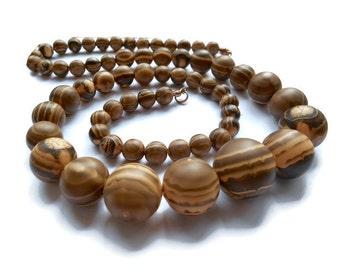 Vintage Necklace, Vintage Lucite Wood Look Necklace, long Necklace