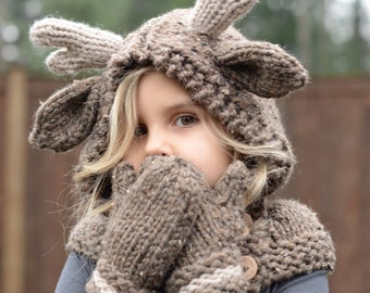 KNITTING PATTERN - Frye Fawn Hood Set (12/18 month - Toddler - Child - Adult sizes)