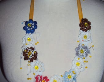 Necklace with crochet flowers Ribbon beads