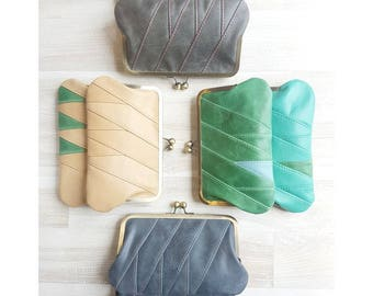 Patchwork leather purses