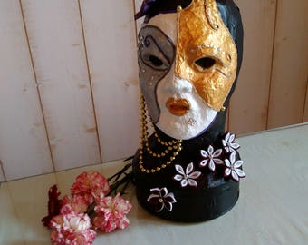 on a head of paper mache Venetian mask