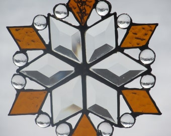 Stained Glass Snowflake Suncatcher