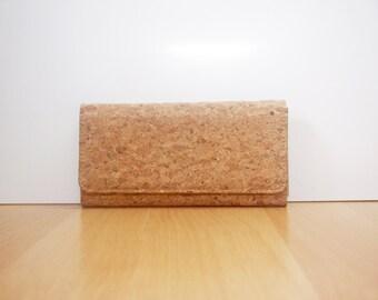 Cork Long Wallet Women Clutch purse with Zipper inside Phone Wallet Bag Bags