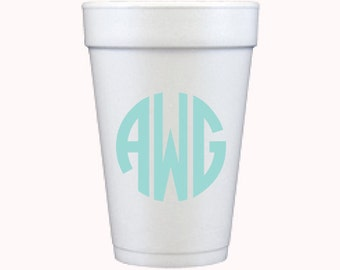 Foam Cups | Circle Monogram (custom order)