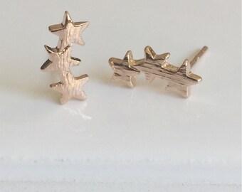 Star Earrings, Gold, Rose Gold & Silver Earrings