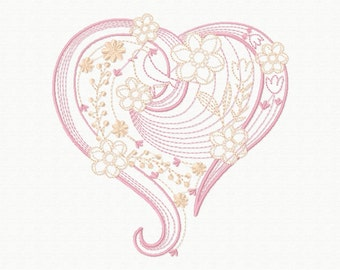 Machine Embroidery Design - Abstract Heart Swirls #07