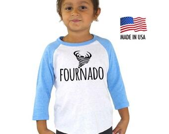 Fourth Fournado 4th Birthday Tri-blend Raglan Baseball Shirt - Four Year Old Toddler, Kid sizes