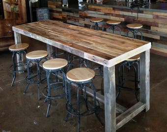 Rustic Kitchen Tables Rustic kitchen table etsy reclaimed wood bar restaurant counter community rustic custom kitchen coffee conference office meeting table hightop high workwithnaturefo